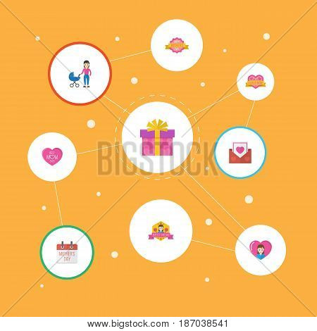Happy Mother's Day Flat Layout Design With Stroller, Present And Best Mother Ever Symbols. Lovely Mom Beautiful Feminine Design For Social, Web And Print.
