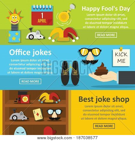 Fools day banner horizontal concept set. Flat illustration of 3 fools day vector banner horizontal concepts for web