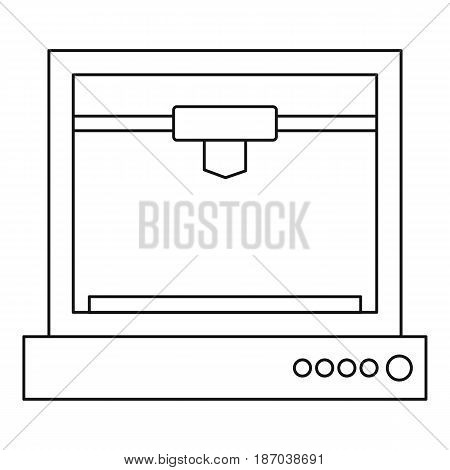 3d printer model icon in outline style isolated vector illustration