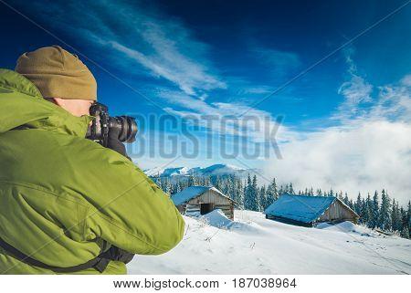 Photographer Taking Photos Winter Mountain Village