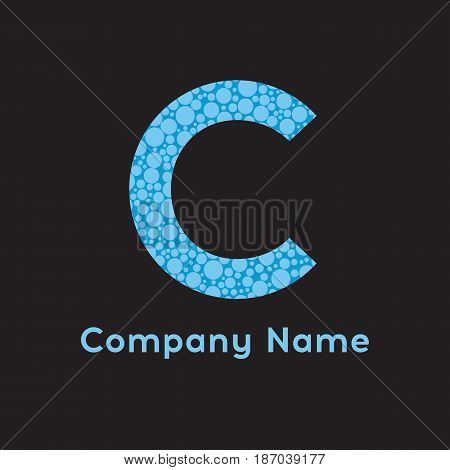 Letter C logo. Business logo - vector illustration. Letter C bubbles vector. Blue C logo