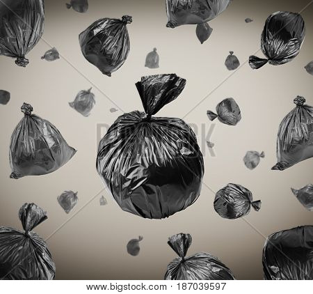 Black garbage bags and background with vignette. Environmental damage and pollution concept.