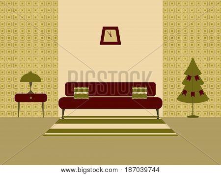 Retro living room interior. Flat design illustration.