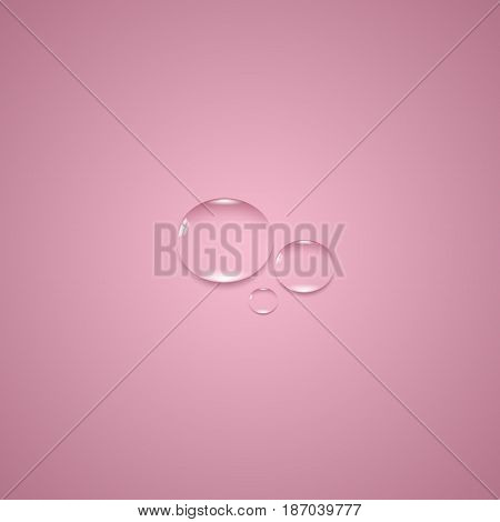 Transparent water drop on the pink background. EPS 10 vector file.