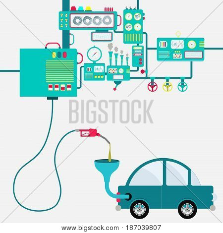 Machinery of factory refining gasoline and refueling a car. Car being fueled by a gas pump.