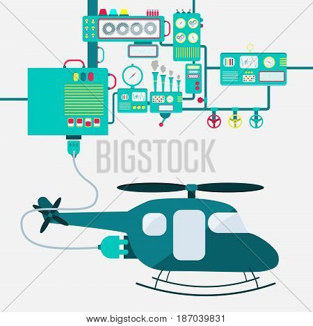 Electric supply of a helicopter. Machinery producing electrical energy.