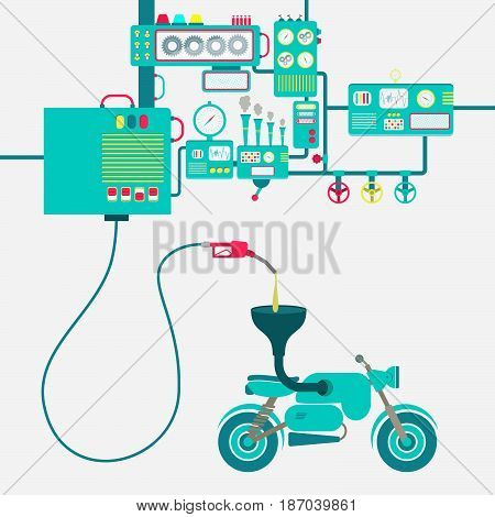 Machinery of factory refining gasoline and refueling a motorcycle. Motorbike being fueled by a gas pump.