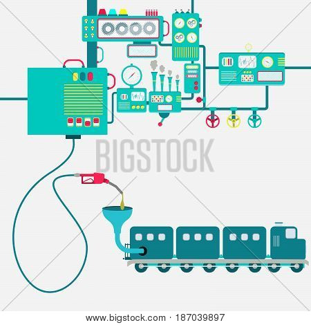 Machinery of factory refining gasoline and refueling a train. Locomotive being fueled by a gas pump.