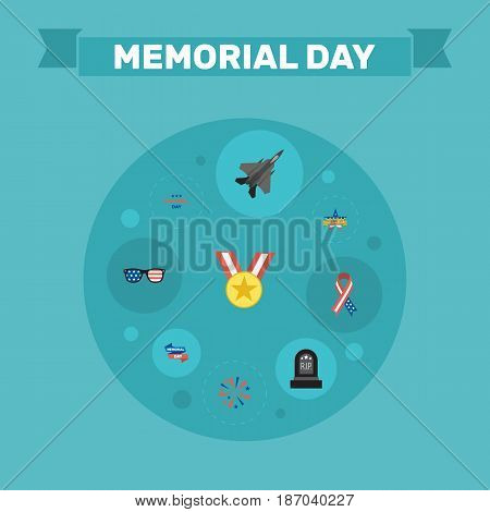 Flat Medallion, Ribbon, Memorial Day And Other Vector Elements. Set Of History Flat Symbols Also Includes Sparklers, Day, Spectacles Objects.