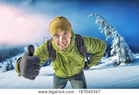 Smiling Active Hiker With Backpack
