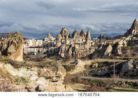 GOREME TURKEY - JANUARY 6 2015: View the town of Goreme in Cappadocia Turkey