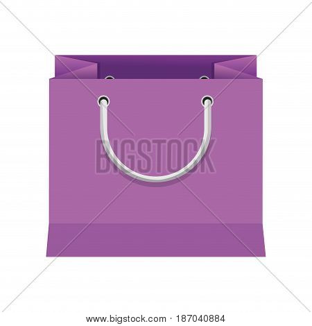 purple paper bag gift present package empty vector illustration