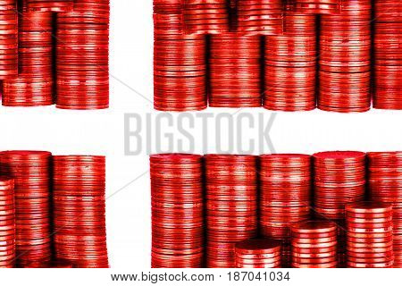 danish money flag constructed from stacks of coins