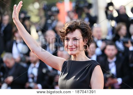 Jeanne Balibar attends the 'Ismael's Ghosts (Les Fantomes d'Ismael)' screening and Opening Gala during the 70th annual Cannes Film Festival at Palais des Festivals on May 17, 2017 in Cannes, France.