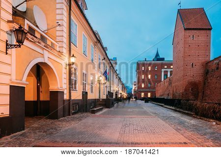 Riga, Latvia.  Facades Of Old Famous Jacob's Barracks On Torna Street. The Barracks Were Built In 18th Century At Base Of The City Fortifications