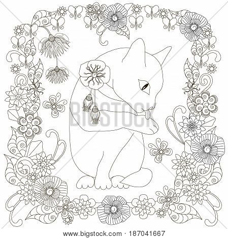Monochrome doodle hand drawn cat washes in flowers frame. Anti stress stock vector illustration