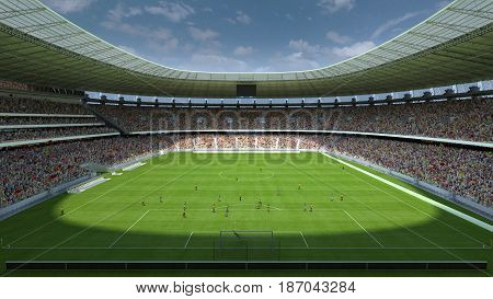 inside the football stadium with people. 3d rendering