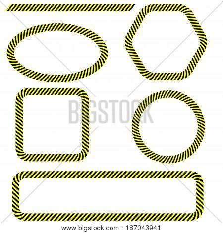 Set of Different Danger Tape Frames Isolated on White Background. Yellow Black Warning Lines.