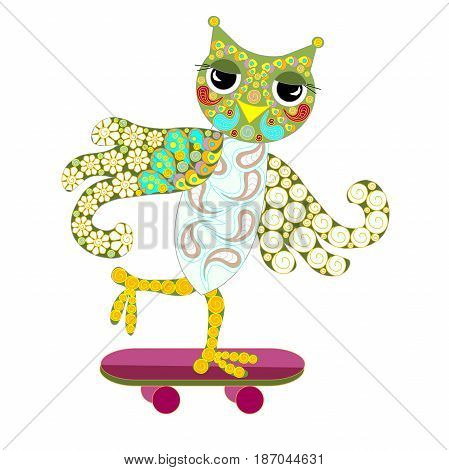 Hand drawn ornamental colorful owl on skateboard for coloring page and print, stock vector illustration
