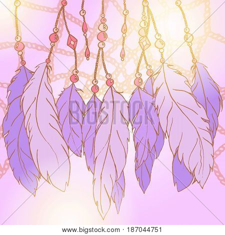 Ethnic feather bead dream catcher background vector