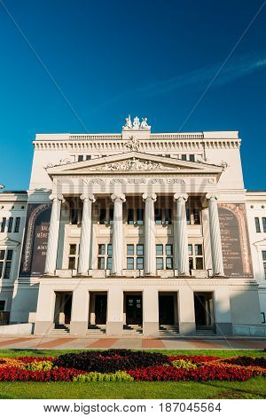 Riga, Latvia - July 2, 2016: Building Of Latvian National Opera. National Opera House In Sunny Summer Day. The Opera Company Includes The Latvian National Ballet, Chorus, And Orchestra