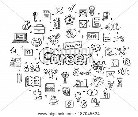 Human resources management infographic round concept with business career development elements in doodle style vector illustration