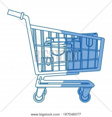 cart buying market shopping bags vector illustration