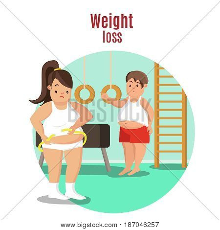 Weight loss concept with fat woman measuring her waist and sad man in gym vector illustration