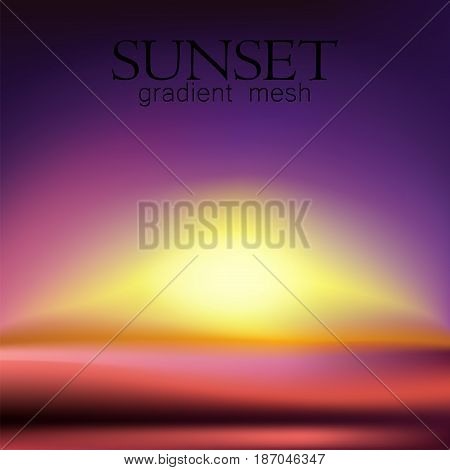 Sunset and sunrise, vector gradient mesh background. Fantastic Beautiful nature background blurred.Vector illustration