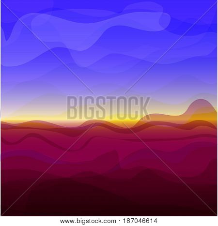 Picture of sunset, mountains and blue sky