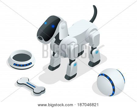 Isometric set of Techno Robot dog. A robot dog with a bowl for eating, a ball for playing and a bone.