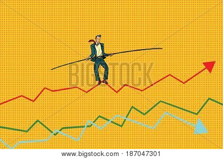 businessman tightrope Walke, schedule of sales. Pop art retro vector illustration drawing