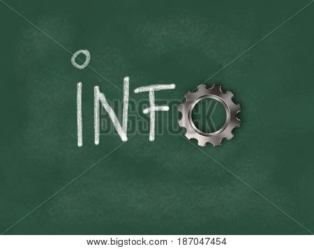 the word info with gear wheel on chalkboard - 3d rendering