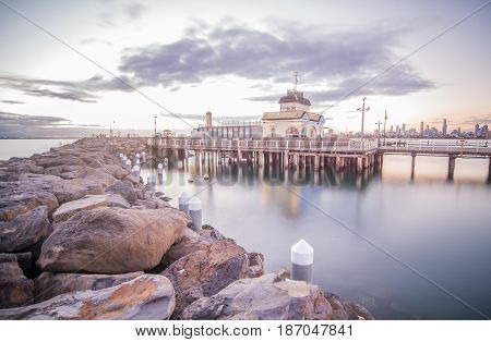 St.Kilda is a remarkable place with the iconic landmark of St.Kilda pier the old heritage buildings in Melbourne, Victoria state of Australia.