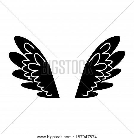 wings feathers angel bird freedom pictogram vector illustration