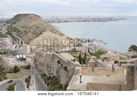 Alicante Spain. May 12 2017: People visiting the Castle of Santa Barbara in the city of Alicante in Spain.