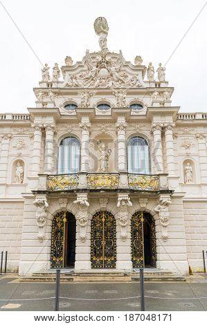 Detail of facade of King Ludwig II Linderhof Castle in Bavaria, Germany.