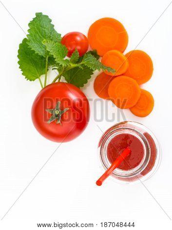 Mixed Vegetable juice with pulp. Studio Photo