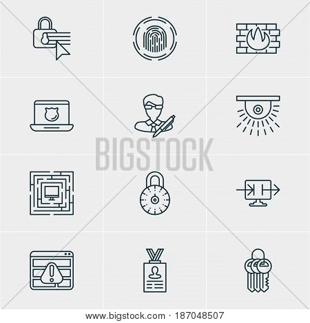 Vector Illustration Of 12 Data Protection Icons. Editable Pack Of Data Security, Network Protection, Copyright And Other Elements.
