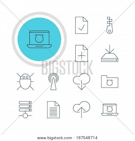 Vector Illustration Of 12 Internet Icons. Editable Pack Of Server, Checked Note, Document Adding And Other Elements.