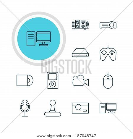 Vector Illustration Of 12 Device Icons. Editable Pack Of Cursor Controller, Joypad, Floodlight And Other Elements.