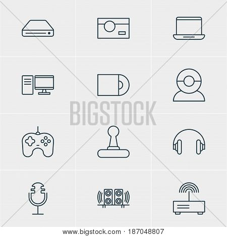 Vector Illustration Of 12 Accessory Icons. Editable Pack Of Dvd Drive, Video Chat, Memory Storage And Other Elements.