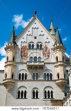 Neuschwanstein Castle. View from location of unrealized chapel along upper courtyard level: Bower, palace front, and Knights House.