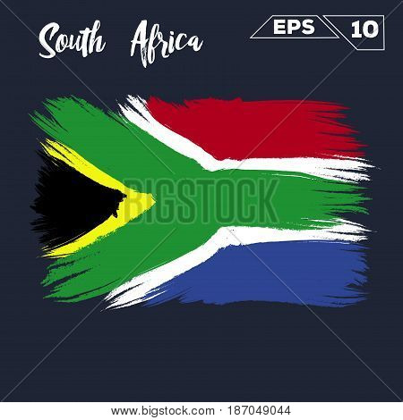South Africa flag brush strokes painted vector illustration