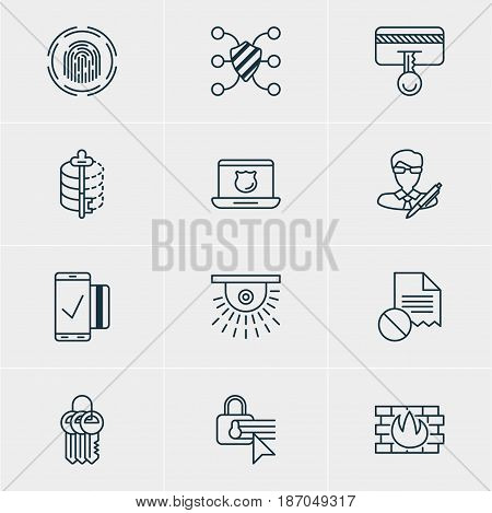 Vector Illustration Of 12 Privacy Icons. Editable Pack Of Confidentiality Options, Data Security, Camera And Other Elements.