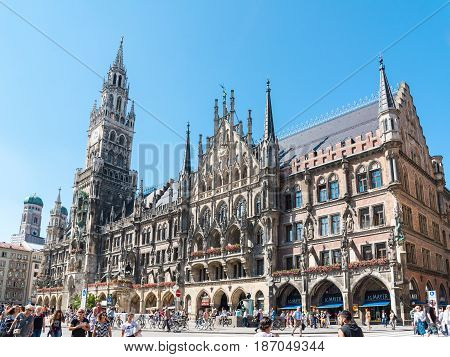 Munich, Germany - June 7, 2016: The Marienplatz is a central square in the city centre of Munich, Germany. It has been the city's main square since 1158.