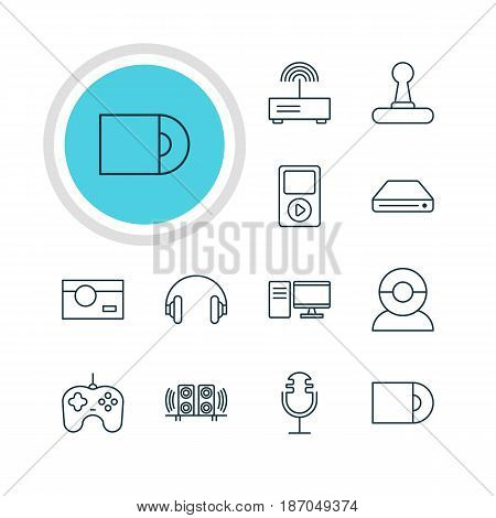 Vector Illustration Of 12 Gadget Icons. Editable Pack Of Game Controller, Joypad, PC And Other Elements.