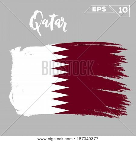 Qatar flag brush strokes painted vector illustration