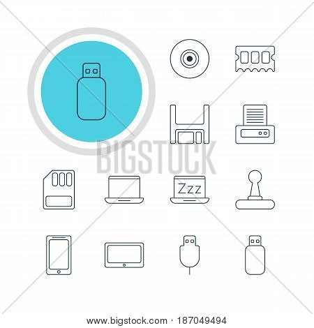 Vector Illustration Of 12 Notebook Icons. Editable Pack Of Notebook, Printer, Objective And Other Elements.