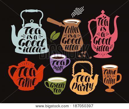 Drink, tea, coffee label set. Collection decorative elements for menu restaurant or cafe. Lettering